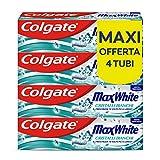 Colgate Dentifricio Sbiancante Max White con Cristalli Bianchi, Ricarica il Bianco Naturale dei Tuoi Denti, 4 x 75 ml