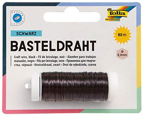 folia 79290 - Kupferdraht schwarz, 1 Spule 0,3 mm x 80 m - ideal für Bastelarbeiten, Gestecke und Gebinde