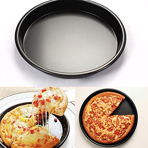 Plaque à pizza professionnelle de 15,2 cm plat à pizza rond en alliage d'aluminium antiadhésif Pizza Tarte Moule, Alliage d'aluminium, noir, D: 9inch