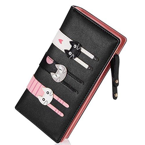 Kfnire geldbörsen Damen reißverschluss schwarz Leder Lang Portemonnaie groß viele fächer (Black)