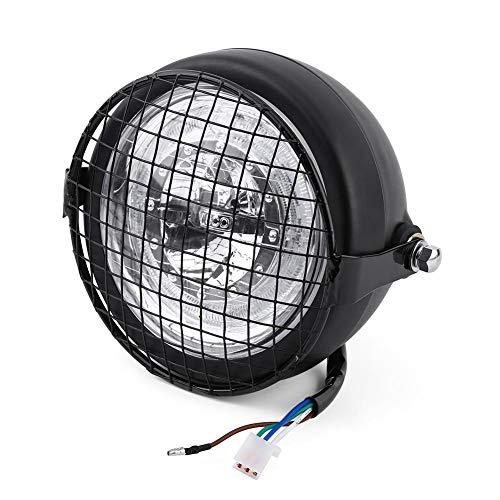 """Faros de motocicleta LED de 6.5""""- Faros Faros de luz con cubierta y soporte de parrilla de metal para Ca-fe Ra-cer Cho-ppers Crui-sers"""