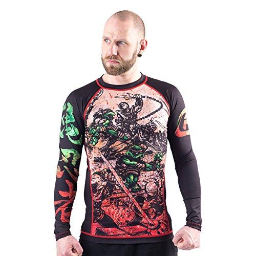 Fusion Fight Gear TMNT Book One BJJ Rash Guard Kompression Shirt - Schwarz - Small