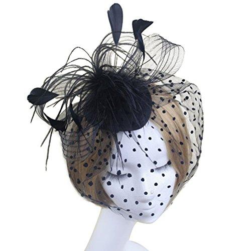 WINOMO Elegante Frauen Braut Hochzeit Feder Mesh Haarschmuck Fascinator Schleier Haarreif Haar Clip...