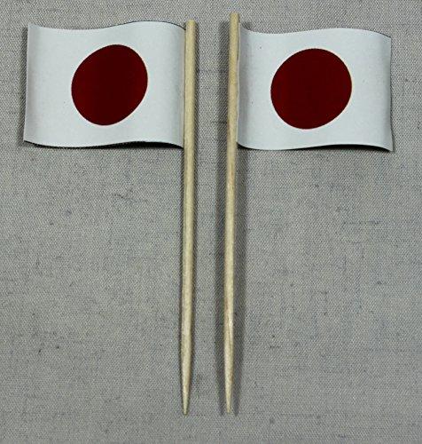 Buddel-Bini Party-Picker Flagge Japan Papierfähnchen in Profiqualität 50 Stück Beutel Offsetdruck Riesenauswahl aus eigener Herstellung