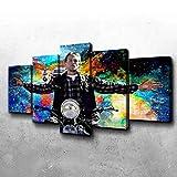 GMSM Cuadros Modernos Impresión de Imagen La película de la película Jax Teller Artística Digitalizada | Lienzo Decorativo para Tu Salón o Dormitorio 5 Piezas 150 x 80 cm