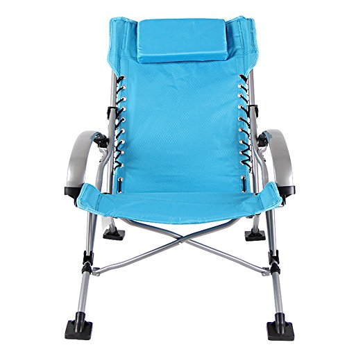 HM&DX Portable Chaises Pliantes exterieures Heavy Duty Chaise Longue Pliante inclinables avec Appui-tête Amovible Chaises Pliantes pour Gens Lourds,Plage,Pêche-Bleu