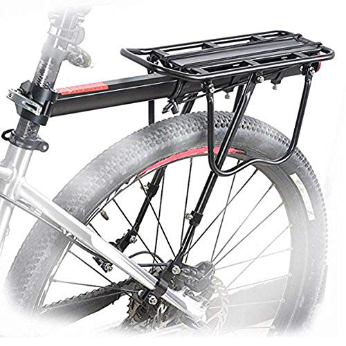 HOMEE Rear Bike Rack, 110 lbs / 50KGS Rear Bike Frame Aluminum Alloy Universal Adjustable Cargo Rack Equipment Stand Footstock Bicycle Luggage Carrier with Tools and Reflector – Black