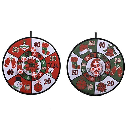 PRETYZOOM 2 Satz Kinder Dart Brettspiel mit Klebrigen Bällen Schneemann Santa Hut Glocke Muster Dartscheibe für Weihnachten Jungen Spielzeug Geschenke Geburtstagsfeier Gefälligkeiten