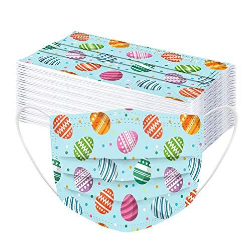 Sonnena 50 Stücke Kinder Ostern Cartoon Druck Erwachsene_3 Lagige Bunt Schutz_Maske_Schutz mit Nasenclip,Für Restaurant,Schule (L, 50Stücke)