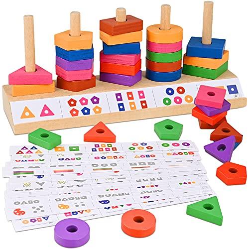 GOLDGE Apilador Geométrico de Madera, Juguetes Educativos para Niños, Juguetes Educativos Montessori Apilables para Niños Niñas Bebés de 4 5 6 Años