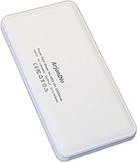 モバイルバッテリー 大容量 ArjanDio 10000mAh 薄型 軽量 スマホ 携帯充電器 持ち運び 急速充電 2ポート iPhone/Android対応【auto-usb機能】ARD-104 (ホワイト)