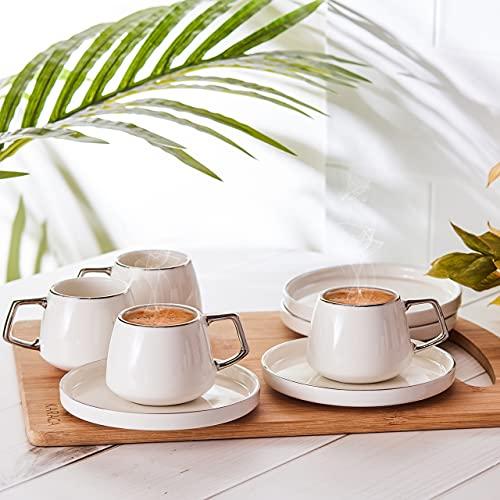 Karaca Saturn Platin Set mit 6 Kaffeetassen 90 ml, Porzellan, fur Kaffee, Teeservice, Tee, Milch, turkischer Kaffee-Espresso Set-Türkisch Traditionalkaffee Tasse