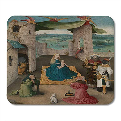 Gaming Mat De aanbidding van Magi door Hieronymus Bosch 1475 Nederlandse Noordelijke Renaissance Schilderij is Gepresenteerd muismat 25X30cm
