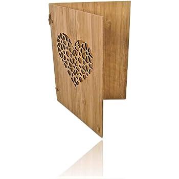 Handgefertigte beschreibbare Bambuskarte mit Herz   Hochzeitskarte   Geburtstagskarte   Geschenkkarte   Weihnachtskarte   Einladung Karte Holz   von SZillion®