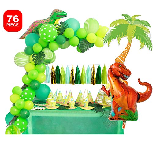 Dinosaur Party Decorations Little Dino Party Decoration Set for Boys Jungle theme Jurassic World Backdrop T Rex Birthday Gift Balloons Arch Garland Kit Blow Up Dinosaurs Balloon