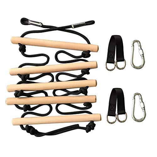 Rubyu Escalera de cuerda, escalera de cuerda con peldaños de madera, escalera, columpio, juguete activo para exteriores, para principiantes, niños y familias
