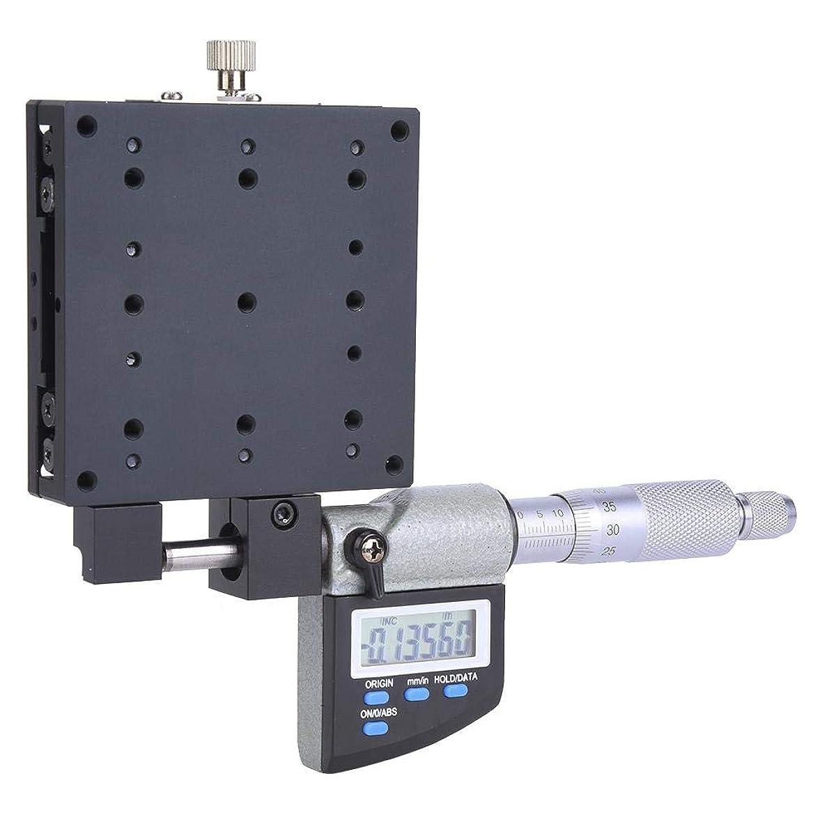 一貫性のないガレージ蓄積するリニアステージ80x80mm 0.001mmマイクロメータプラットフォームデジタル表示Xリニア移動ステージ