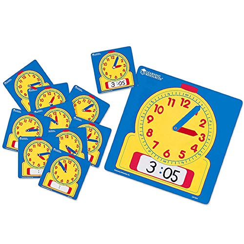 Learning Resources Write & Wipe Clocks Classroom Set, Laminated Dry-Erase, Teaching Aids, Set of 25, Ages 6+,Brown/a