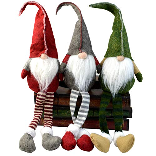 Yolyoo 3pcs Handmade Christmas Gnome Decoration,Swedish Santa Gnome Tomte,Swedish Figurines Sitting Long-Legged Christmas Hanging Decorations