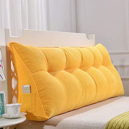 DX Doppelkissenbett mit dreieckigem Ordner, Bettkopf, Rückenpolstergröße, waschbares Flanellbett 5 Farben, 8 Größen (Farbe: gelb, Größe: 180 cm)