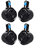 2 Pairs Rockville RWB65B 6.5' Black Marine Wakeboard Tower Speakers - 1000 Watts