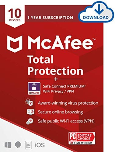 McAfee Total Protection with Safe Connect VPN includes Antivirus Internet Security 1 year subscription product image