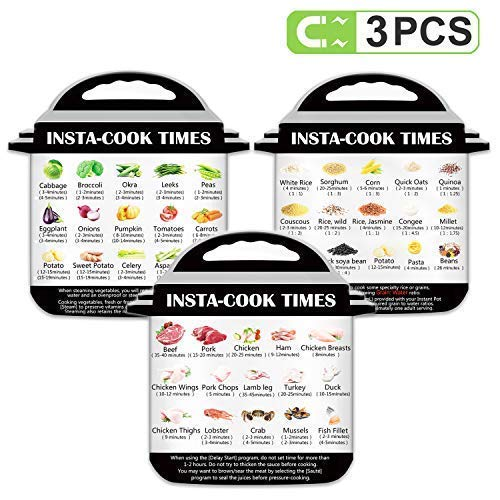 3 Pack Electric Pressure Cooker Cook Times (Food Images), Quick Reference Guide Compatible with Instant Pot, Instant Pot Accessories Magnetic Cheat Sheet Set, Best Gift for Husband, Wife, Daughter