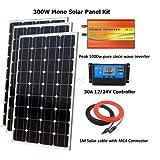 SISHUINIANHUA 300W Mono Panel Kit Solar con Pico 1000w Puro Desde inversor de Onda: El Panel Solar Mono 300W, Controlador del Sistema Fuera de la Red PWM 30A LCD