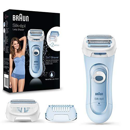 Braun Silk-épil Lady Shaver 5160 - Afeitadora eléctrica femenina, uso en seco o húmedo, sin cable, con 3 accesorios (incluido accesorio de recortadora), azul
