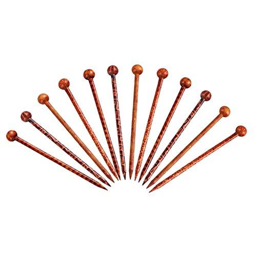 Sharplace 12pcs Pique à Cheveux Bâtonnets de Cheveux Naturel Santal Rouge à La Main Sculpté Pince à Cheveux Epingles à Cheveux 13 cm