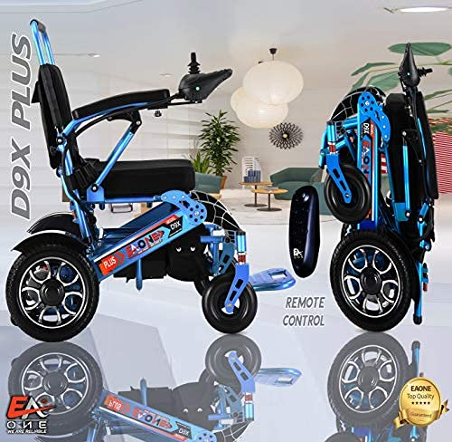 7 Colors (XL) EAONE No.1D9X, Best Rated Exclusive Folding Lightweight Motorized Electric Wheelchair, All Terrain Dual 500W Motors, Heavy-Duty, Portable Electric Wheelchair (21.5 '' Seat Width) (Blue)