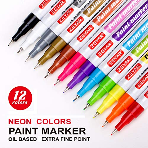 Zeyar Paint Pens Oil Based Extra Fine Point 12 Metallic And Neon Colors Odorless Expert Of Rock Painting Xylene Free Metal Penholder