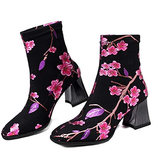 ZLFCRYP Mujer Arranque de Moda de Las Flores borda étnicas Talones Estilo de Espesor de Alta Botas del Tobillo black-38