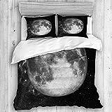 Zozun Funda nórdica, Astrología Luna Llena en el Espacio sobre Estrellas de Este Juego de Funda nórdica de astronomía de la NASA, con 2 Fundas de Almohada, Juego de Funda de Cama