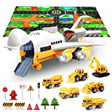 SLENPET Large Airplane Toy with 6 Construction Trucks Set, 32.6x22.4 Inch Play Mat, 11 Road Signs, 9 in 1 Vehicle Car Toys for 3 Year Old Boys, Kids, Toddlers, Childs