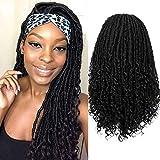 WIGER Headband Wig Short Dreadlock Wigs Natrual Black Hair Synthetic Rolls Twist Wigs for Black Women and Men Hand Braided Curly Wigs (1B)