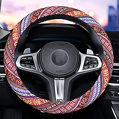 Universal 15inch Sweat Absorption Steering Wheel Cover with Coarse Flax Cloth SWC0 (Boho-Gold2)