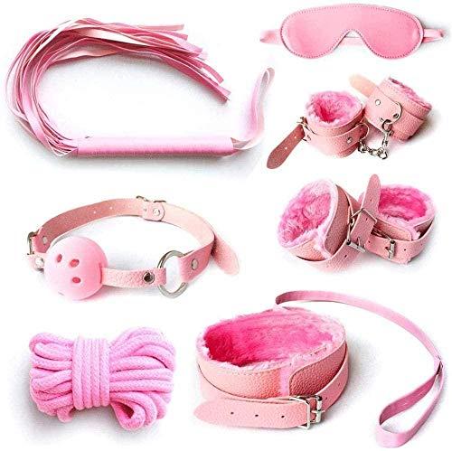 7 piezas Juguetes Esposas y disfraces de silbato Accesorios de disfraces para fiestas Niños jugando con juguetes para adultos Pareja-Púrpura-Rosado