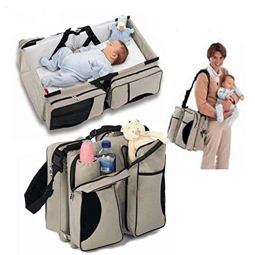 3 in 1-Wickeltasche, Mehrzweck-Tasche, reisebett für Baby,als Tragebettchen und Wickeltisch, tragbar, veränderbar (Beige)