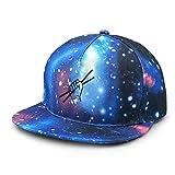EEMNJIHH Drum Sticks Galaxy Snapback Hat Unisex Trucker Hat Hip Hop Flat Bill Brim Adjustable Baseball Cap Blue