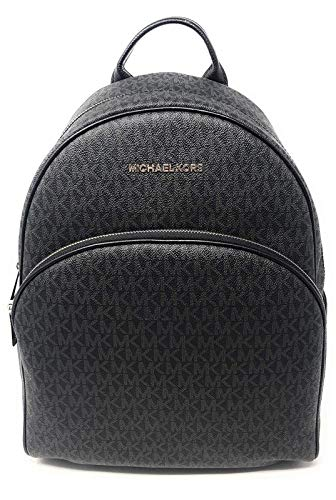 "Michael Kors abbey backpack Black PVC signature Top zip-around closure. Adjustable shoulder straps. Interior wall and slip pockets 11""W x 15""H x 5""D"