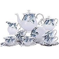 fanquare 15 pezzi servizio da tè in porcellana con fiori blu,servizio da caffè vintage in ceramica con fiori di rosa,servizio da tè per matrimoni per adulti