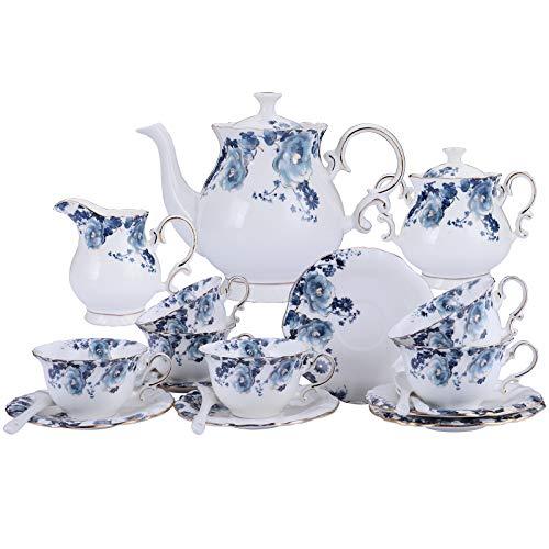 fanquare 15 Piezas Juegos de Té de Porcelana con Flores Azules, Vintage Juego de Café Inglesa, Servicio de Té de Boda para Niña