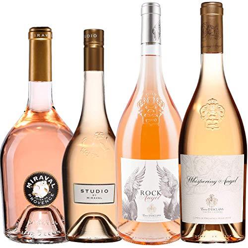 Best of Provence - Lot de 4 bouteilles - Miraval : Studio/Jolie-Pitt - Esclans : Rock Angel/Whispering Angel - Côtes de Provence Rosé 2019 (4 * 75cl)