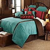 HiEnd Accents Cheyenne Western Faux Leather Bedding Set, King, Turquoise 7 PC