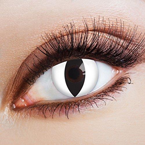aricona Kontaktlinsen - Weiße Kontaktlinsen Motivlinsen Katzenaugen - farbige Kontaktlinsen ohne Stärke für Karneval, Fasching, und Kostüm-Partys, 2 Stück