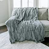 "Softest Warm Elegant Cozy Faux Fur Home Throw Blanket by Graced Soft Luxuries (Solid Gray, Extra Large 60"" x 80"")"
