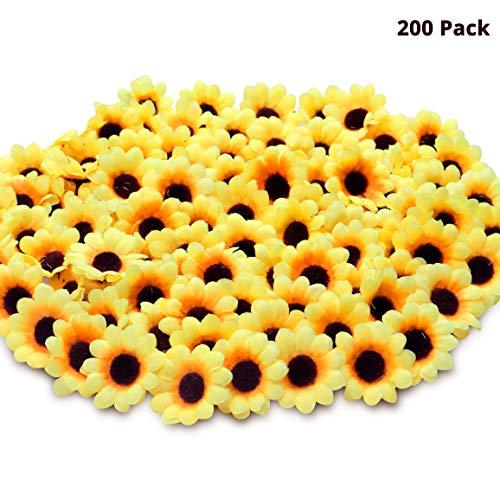 BELLE VOUS Sonnenblumen Köpfe (200 Stück) - (4,5x2,5cm) Seidigem Kunstblumen Köpfe mit braune Mitte - Kleine Kunstblumen für Hochzeit, Blumensträuße, Babyparty, Kränze, Girlanden, DIY Basteln
