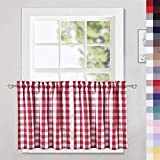 CAROMIO Red Buffalo Check Tier Curtains for Kitchen, Thick Yarn Dyed Buffalo Plaid Gingham Rod Pocket Cafe Curtains Bathroom Window Curtain, 24 Inches