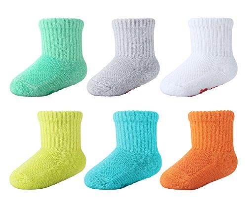 +MD 6 pares de calcetines de bambú para bebés Súper suave Suela acolchada Recién nacido Niño tobillo antideslizante Calcetines de tobillo Boy18-36M